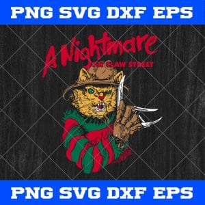Cat A Nightmare On Clown Street SVG, Cat Freddy Krueger SVG, A Nightmare On Clown Street SVG, Halloween SVG