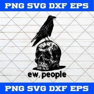 Raven Ew People SVG, Raven SVG, Raven On Skull SVG, Skull SVG, Raven And Skull SVG