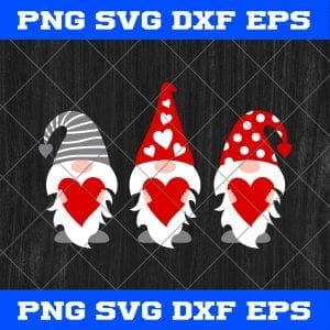 Three Gnomes Valentines Day SVG PNG EPS DXF – Valentines Day SVG PNG