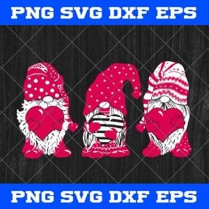 Three red Gnomes Santa Gnomies Patrick's Day Svg Png Eps Dxf Cricut File Silhouette svg