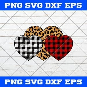 Three Hearts Leopard Buffalo Plaid Valentine's day SVG PNG EPS DXF-Valentines Day SVG PNG
