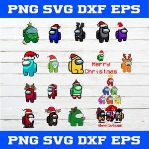 Among Us Christmas SVG PNG EPS DXF Cricut File Silhouette Art,