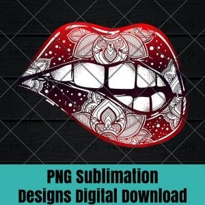 Sexy Biting Lips Tshirt - Boho Lipstick Damask Tattoo Tee PNG Sublimation Design Download, T-shirt design sublimation design, PNG