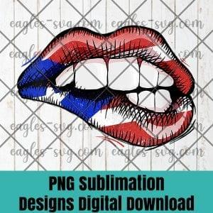 Womens Sexy Biting Lips Puerto Rico Flag V-Neck PNG Sublimation Design Download, T-shirt design sublimation design, PNG