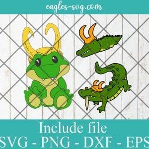 Cute Alligator Loki SVG PNG DXF EPS Cricut Silhouette