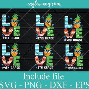Bundle Love Grade Teacher Summer SVG PNG DXF EPS Cricut Silhouette