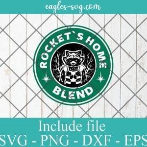 Rocket Logo Starbucks SVG PNG DXF Cricut Silhouette - Rocket Home Blend SVG, Marvel Starbucks SVG, Superhero Coffee SVG