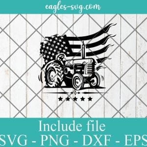 USA Farm Tractor SVG PNG DXF EPS Cricut Silhouette