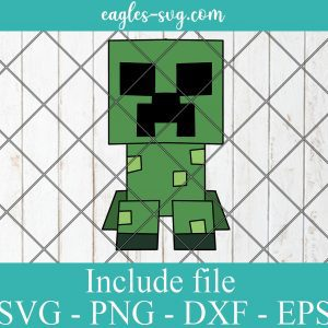 Creeper Video Game Minecraft Layered SVG PNG DXF EPS Cricut Silhouette
