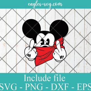 Disney Cartoon Mickey Mouse Gangster SVG PNG DXF Cricut Silhouette