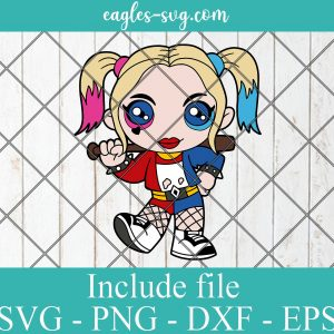 Harley Quinn Baby Kids Superhero SVG PNG DXF EPS Cricut Silhouette