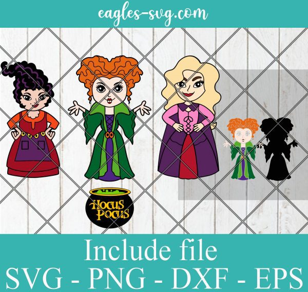 Hocus Pocus Sanderson Sister Party Halloween Layered SVG PNG DXF Cricut Silhouette
