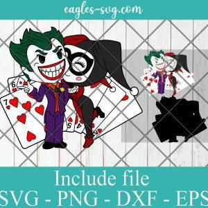 Joker & Harley Quinn Cute Funny Superhero Layered SVG PNG DXF Cricut Silhouette