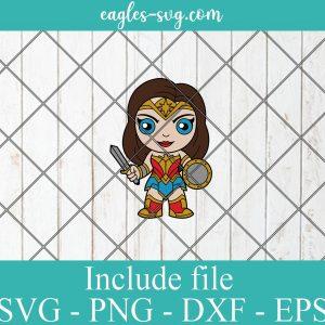 Wonder Woman Baby Cute Superhero Layered SVG PNG DXF Cricut Silhouette, DC Comics SVG