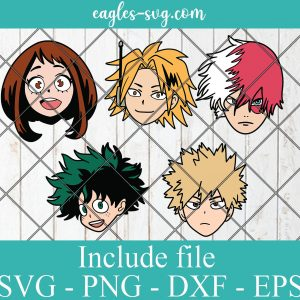 Bunlde My Hero Academia Anime SVG PNG DXF Cricut Silhoutte