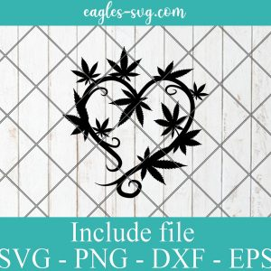 Cannabis Heart SVG Marijuana Wreath SVG Weed Love Svg Png Ai Cricut Silhouette