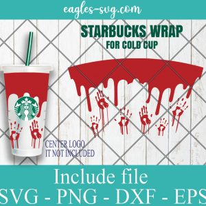 Full Wrap Starbucks Scary Halloween Cold Cup SVG, Full Wrap for Starbucks Venti Cold Cup, Files for Cricut, Digital Download