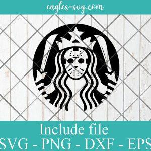 Jason Voorhees Starbucks Logo SVG, Friday the 13th svg, Horror Halloween Svg Png Ai Cricut Silhouette