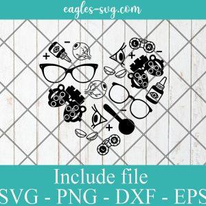 Optometry SVG, Optometry Icons Svg, Optometry Shape Heart Vinyl Cut File for Silhouette or Cricut