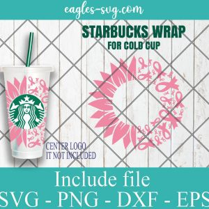 Sunflower Pink Ribbon Starbucks Cup svg, Breast Cancer Starbucks Cold Cup SVG, Cancer Ribbon Awareness Venti Cold Cup svg
