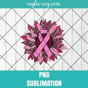Breast Cancer Pink Leopard Awareness Sunflower Sublimation Design