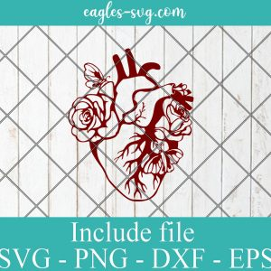 Anatomical Heart with Roses Svg, Cardiology SVG Vinyl Cut File for Silhouette or Cricut