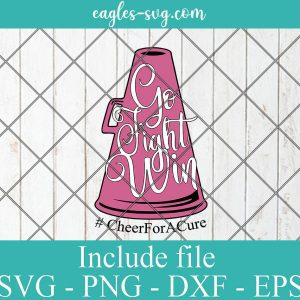 Cheer For A Cure Svg, Breast Cancer Awareness SVG, Cut File for Silhouette or Cricut, Cheerleader Go Fight Win Svg