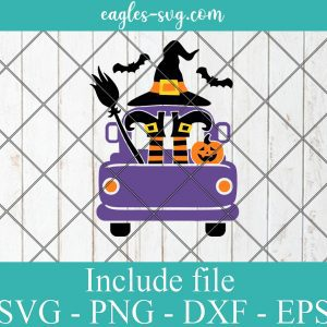 Halloween Truck Witch Svg, Witch Legs Svg, Old Truck Back Svg Png, Girls Cut Files, Kids Monogram Svg, Silhouette, Cricut