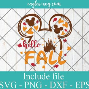 Mouse Ears Hello Fall Svg for cricut, Mouse autumn print for t-shirt, Fall yall Svg, Autumn Svg