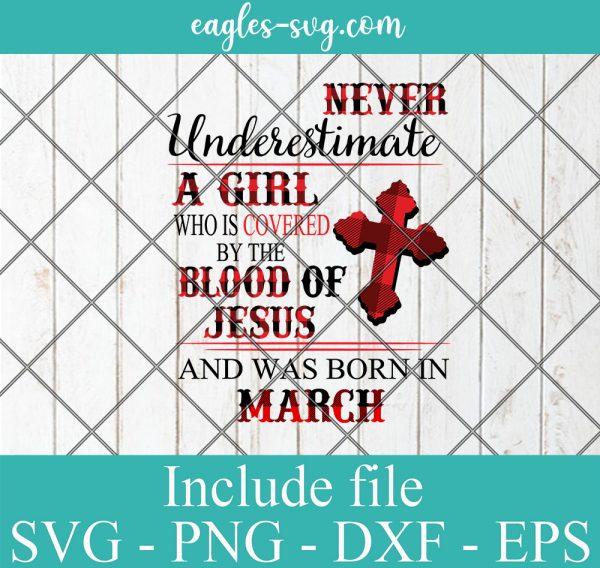 Never Underestimate A Woman Who Is Covered By The Blood Of Jesus And Was Born In March, Birthday Girl Svg, Png