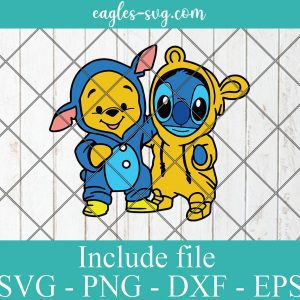 Stitch and Pooh Friends Svg, Stitch and winnie the pooh together Svg Png, Cricut, Silhouette Cut Files